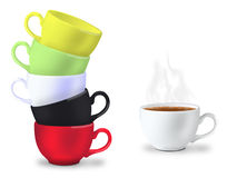 Many cups for tea time Royalty Free Stock Image