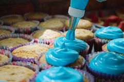 Many cutcakes being sprinkled with blue sweet cream. Many cupcakes are being covered with blue sweet cream for final delivery at the party royalty free stock images