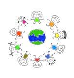 Many cute cartoon are around the world Royalty Free Stock Photo