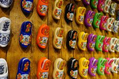 Dutch wooden shoes display on the wall royalty free stock photos