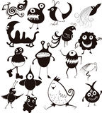 Many cute doodle characters Stock Photos