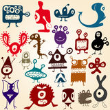Many cute doodle monsters Stock Photos