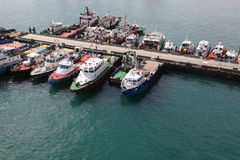Many cutters at its mooring in port. Royalty Free Stock Photo