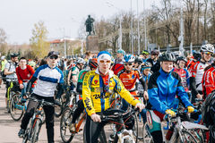 Many cyclists on Lenin Square in Homel. Belarus. Gomel, Belarus - April 10, 2016: Bicyclists amateurs in Gomel on Lenin Square on the bike ride in honor of the Stock Photography