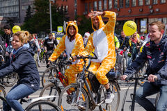 Many cyclists participate in bicycle parade around the city centre Stock Image