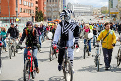 Many cyclists participate in bicycle parade around the city centre Stock Photo