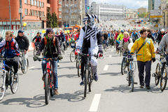 Many cyclists participate in bicycle parade around the city centre Royalty Free Stock Photography