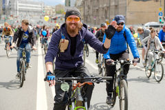 Many cyclists participate in bicycle parade around the city centre Royalty Free Stock Images