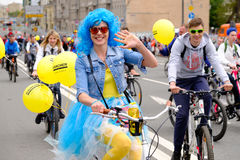 Many cyclists participate in bicycle parade around the city centre Stock Photography