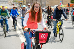 Many cyclists participate in bicycle parade around the city centre Royalty Free Stock Image
