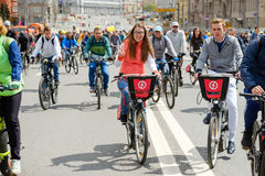 Many cyclists participate in bicycle parade around the city centre Stock Photos