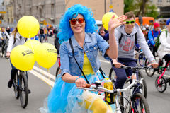 Many cyclists participate in bicycle parade around the city centre Royalty Free Stock Photo