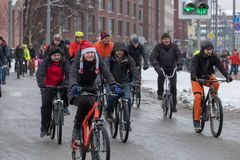 Many cyclists participate in winter bicycle parade around the city centre Royalty Free Stock Photography