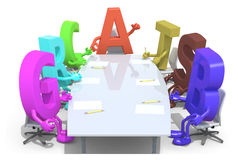 Many 3d fonts meeting around the table and follow the letter A Royalty Free Stock Photography