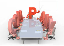 Many 3d letters forming the word company, around a meeting table Stock Photography