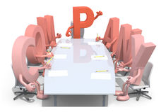 Many 3d letters forming the word company, around a meeting table Royalty Free Stock Images