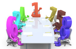 Many 3d numbers meeting around the table and follow the number o. Many 3d numbers meeting around the table and follow their boss, the number one, 3d illustration Stock Image