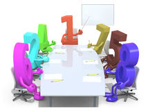Many 3d numbers meeting around the table and follow the number o. Many 3d numbers meeting around the table and follow their boss, the number one, 3d illustration Stock Images