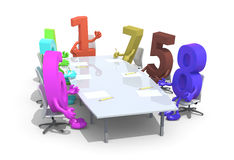 Many 3d numbers meeting around the table and follow the number o. Many 3d numbers meeting around the table and follow their boss, the number one, 3d illustration Royalty Free Stock Photography