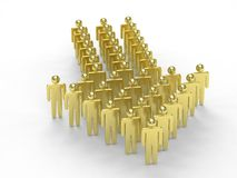 Many 3d people figure in arrow shape with the. Leader in front on white Stock Photography