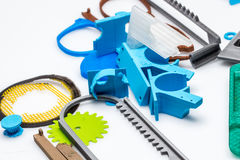 Many 3D printed elements to educate young kids of digital fabrication. 3D design, printing and fabrication is one of the hottest new trends for Makers, and Royalty Free Stock Photography