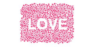 Many 3D purple pink Hearts Shapes LOVE form on a white background Royalty Free Stock Photos