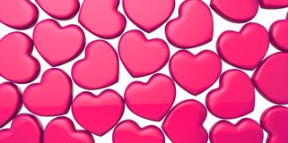 Many 3D purple pink Hearts Shapes on a white background Royalty Free Stock Image