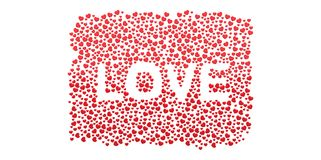 Many 3D red Hearts Shapes LOVE form on a white background. Style Royalty Free Stock Image