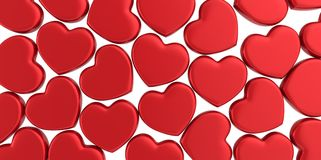Many 3D red Hearts Shapes on a white background. Style Royalty Free Stock Photos