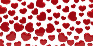Many 3D red Hearts Shapes on a white background. Style Stock Photo