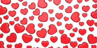 Many 3D red Hearts Shapes on a white background Stock Photos