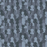 Many dark silhouettes, crowd of people seamless pattern Royalty Free Stock Image