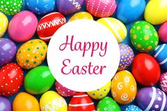 Many decorated Easter eggs as background, top view stock photography