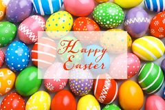 Many decorated Easter eggs as background, top view stock photo