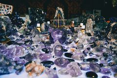Many decorative objects of amethyst royalty free stock photo