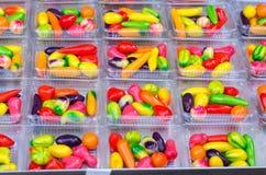 Many Deletable imitation fruits on the box, Traditional Thai Des Royalty Free Stock Photo