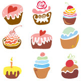 Many delicious festive cakes. Vector set of various cupcakes with toppings and flavors Royalty Free Stock Image