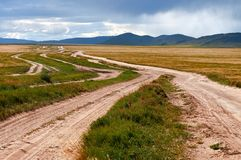 Many desert rural road Mongolia Stock Photography