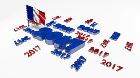 Many 2017 designs with French flag in the wind Stock Photography