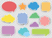 Many designs of speech bubbles in different colors. Illustration stock illustration