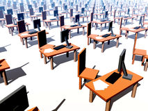 Many Desks With Chairs 1. An image of a It office/work environment, it contains desks, chairs and computers with keyboards and paper Royalty Free Stock Images