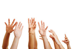 Many desperate hands reaching up. Into the air stock photography