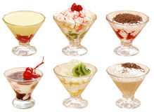 Many desserts. Many the cut out fruit desserts with a cream Royalty Free Stock Photography