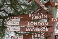 Many destinations sign wood pole. Many destinations town sign wood pole in polynesia Royalty Free Stock Photo