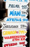 Many destinations in the world written on arrows of wood. Distances of some cities of the world written on wooden signs royalty free stock photo