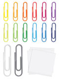 Many detailed glossy paperclips in various colors Royalty Free Stock Photos