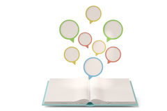 Many dialogs on the book. 3D illustration. Stock Photos