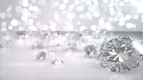 Many diamonds on glossy surface. 3d render. Many diamonds on glossy surface. 3d illustration royalty free illustration
