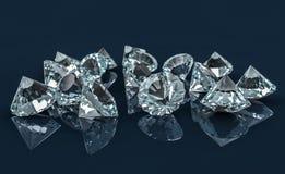 Many diamonds on reflective desk royalty free illustration