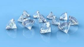 Many diamonds spilled on blue reflective desk vector illustration